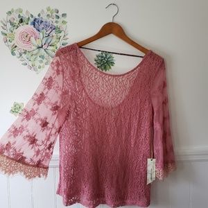 Gimmicks BKE Lace Bell Sleeve Mauve Pink Top Sheer